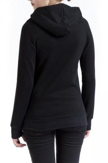 Womens Plain High Collar Button Kangaroo Pocket Pullover Hoodie Black