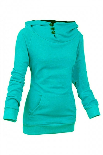 Womens Plain High Collar Button Kangaroo Pocket Pullover Hoodie Green