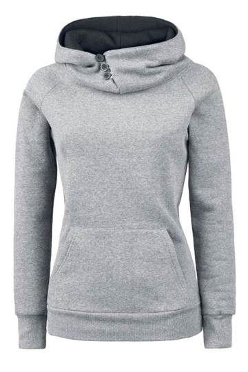 Womens Plain High Collar Button Kangaroo Pocket Pullover Hoodie Gray