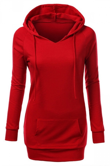 Womens Slim Plain Kangaroo Pocket Cotton Pullover Hoodie Red