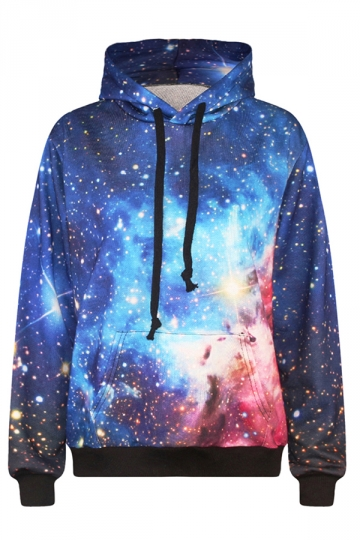 Womens Long Sleeve Galaxy Patterns 3D Print Pullover Hoodie Blue