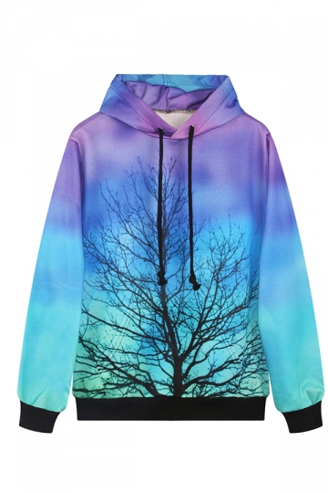 Womens Long Sleeve Galaxy Tree 3D Digital Print Pullover Hoodie Blue