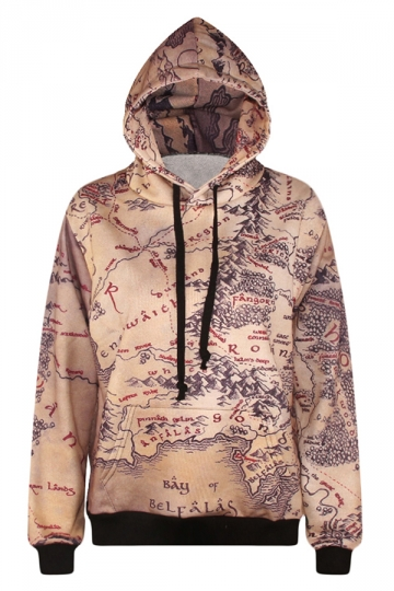 Womens Retro Map 3D Print Kangaroo Pockets Pullover Hoodie Beige White