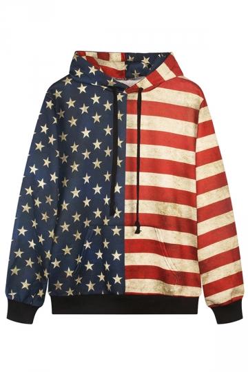Womens Vintage American Flag 3D Digital Print Pullover Hoodie Blue