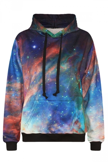Womens Galaxy 3D Digital Print Kangaroo Pockets Pullover Hoodie Blue