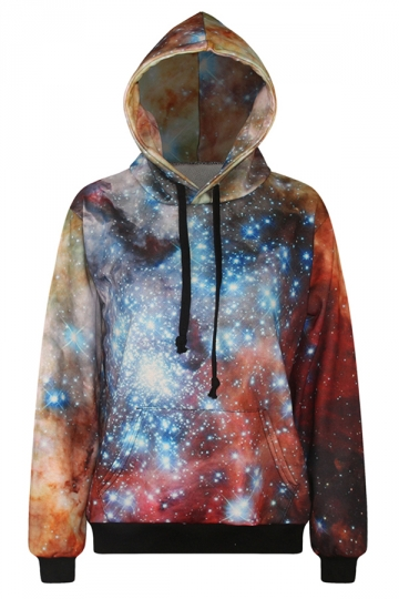 Womens Loose Galaxy 3D Digital Print Long Sleeve Pullover Hoodie Blue