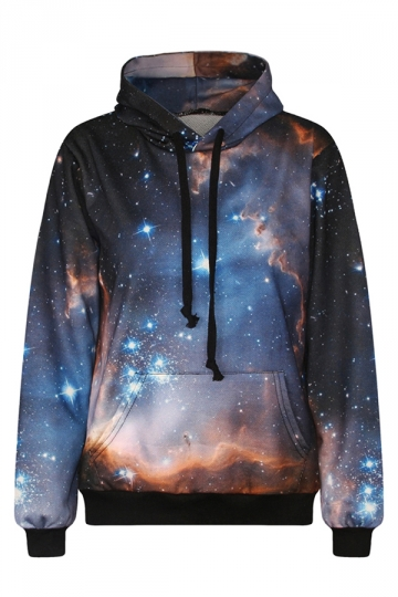 Womens Galaxy 3D Digital Print Punk Style Pullover Hoodie Blue