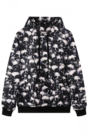 Womens Horrible Skull 3D Digital Print Pullover Hoodie Black