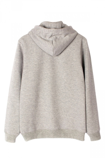 Womens Loose Plain Long Sleeve Kangaroo Pocket Pullover Hoodie Gray