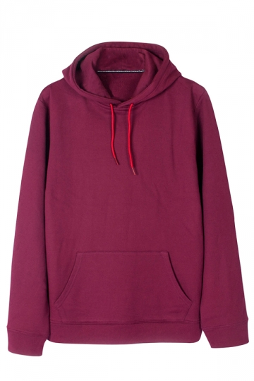 Womens Loose Plain Long Sleeve Kangaroo Pocket Pullover Hoodie Ruby