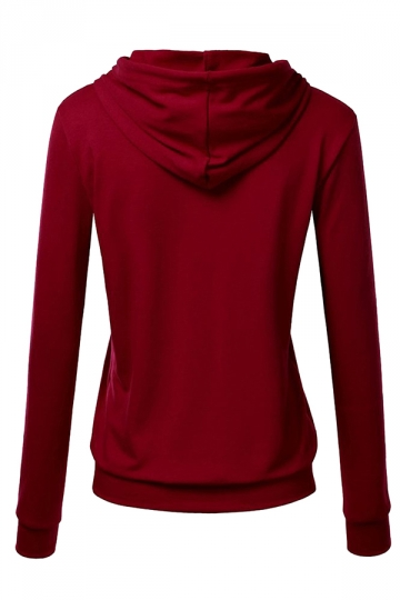 Womens Slim Plain Long Sleeve Active Drawstring Pullover Hoodie Ruby