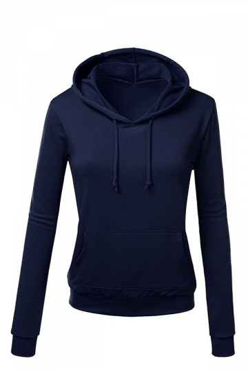 Womens Plain Long Sleeve Active Drawstring Pullover Hoodie Navy ...