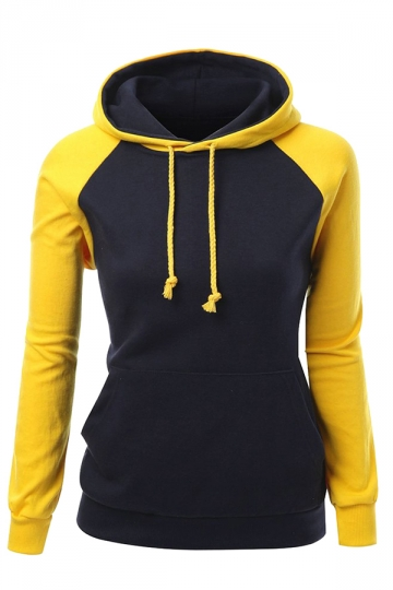 Womens Raglan Sleeve Color Block Drawstring Pullover Hoodie Yellow ...