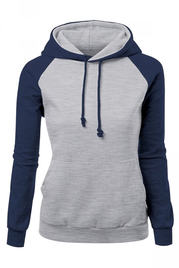 Womens Raglan Sleeve Color Block Drawstring Pullover Hoodie Navy ...
