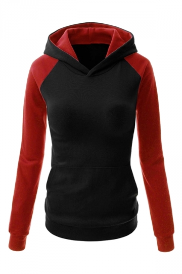 Womens Stylish Color Block Raglan Long Sleeve Pullover Hoodie Black