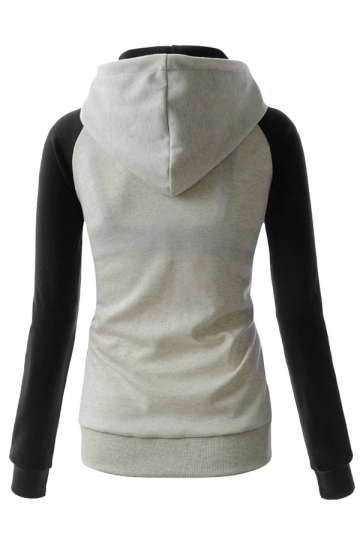Womens Stylish Color Block Raglan Long Sleeve Pullover Hoodie Gray