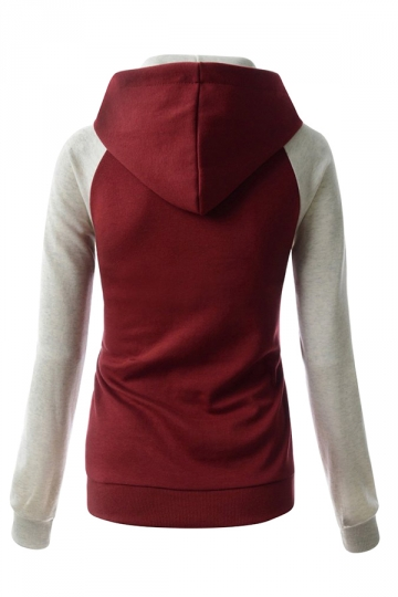 Womens Stylish Color Block Raglan Long Sleeve Pullover Hoodie Ruby