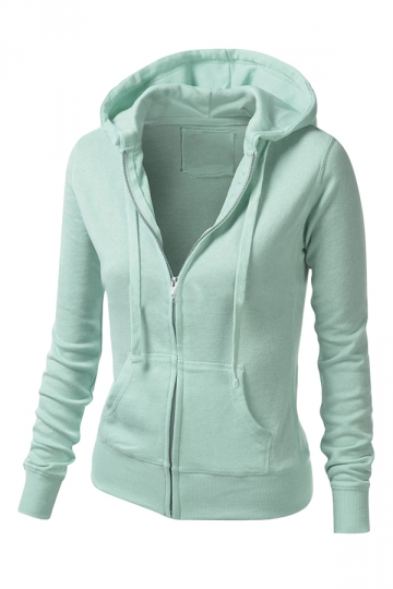 Womens Stylish Plain Long Sleeve Zipper Hoodie Blue