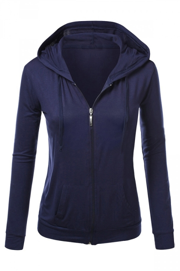 Womens Stylish Plain Long Sleeve Zipper Hoodie Navy Blue