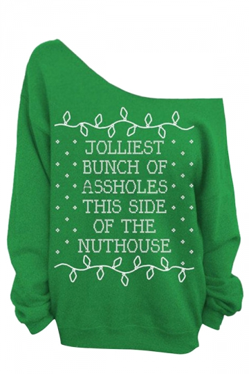 Womens Oblique Shoulder Long Sleeve Letter Printed Sweatshirt Green