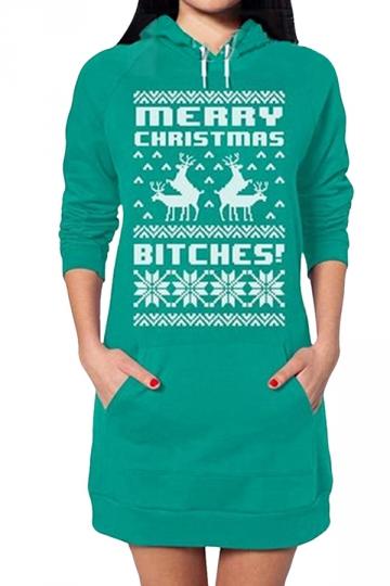 Womens Long Sleeve Christmas Deer Printed Pullover Hoodie Green