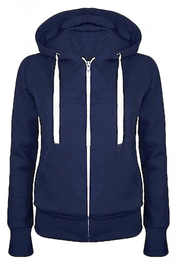 Womens Simple Slim Plain Long Sleeve Zipper Hoodie Navy Blue