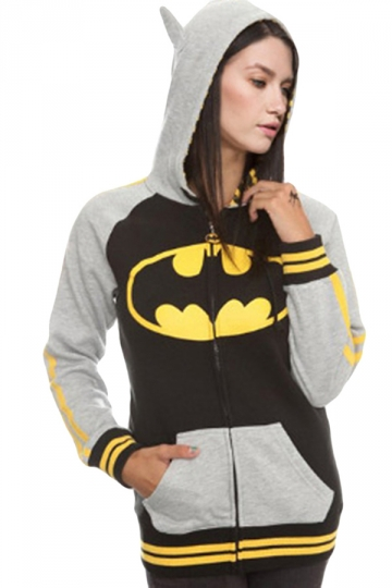 Womens Stylish Batman Printed Long Sleeve Zipper Hoodie Gray