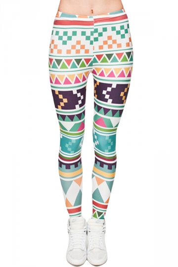 Womens Full Print Aztec Blue  Leggings