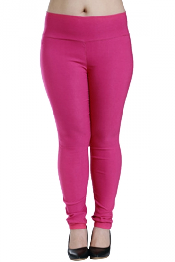 Womens Plus Size High Waisted Elastic Leggings Rose Red