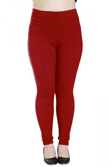 Womens Plus Size High Waisted Elastic Leggings Red