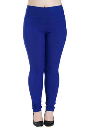 Womens Plus Size High Waisted Elastic Leggings Sapphire Blue