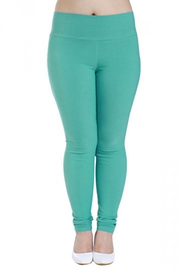 Womens Plus Size High Waisted Elastic Leggings Turquoise - PINK QUEEN