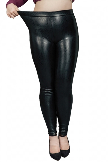Womens Plus Size High Waisted Ankle Length Leather Leggings Black ...