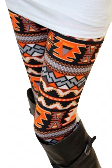 Womens Geometric Printed Elastic Tight Warm Leggings Orange