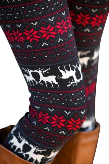 Womens Reindeer Snowflake Printed Elastic Tight Christmas Leggings Red