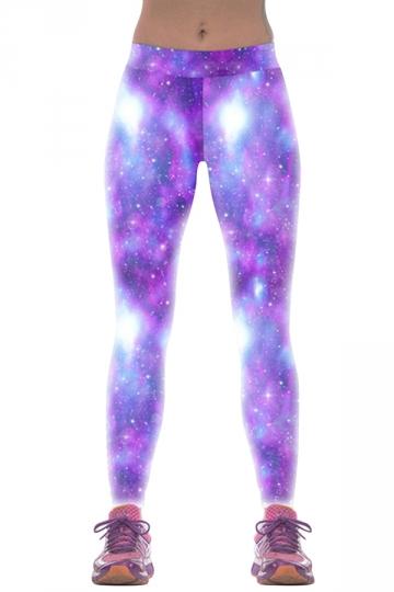 Womens Slimming Colorful Galaxy 3D Print Bright Shinny Leggings Purple