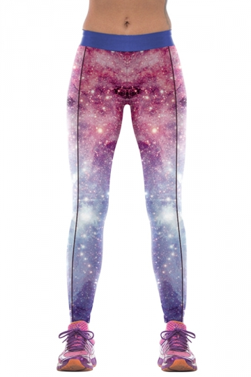 Womens Slimming High Elastic Galaxy Print Yoga Fitness Leggings Purple