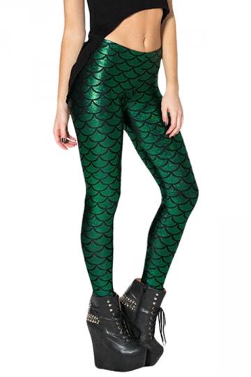 Womens Mermaid Fish Scales Print Shiny Ankle-length Leggings Green