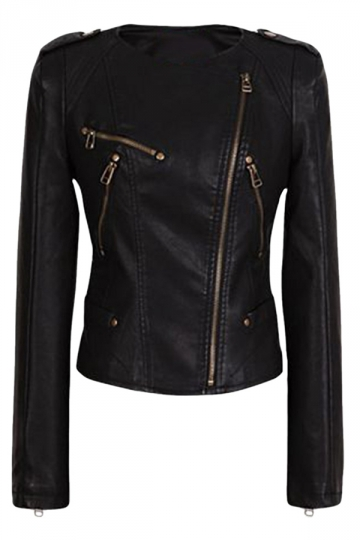 Womens Plain Round Neck Oblique Zipper Short PU Leather Jacket Black