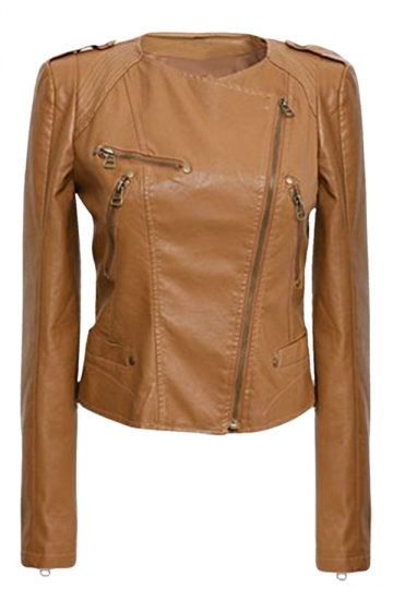 Womens Plain Round Neck Oblique Zipper Short PU Leather Jacket Brown