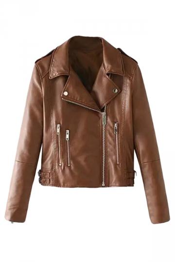 Womens Lapel Multi-Zipper Buckled Crop Motorcycle Jacket Brown