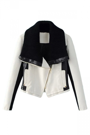 Womens Oblique Zipper Knitting Lapel Splice PU Leather Jacket White
