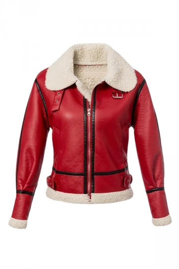 Womens Lapel Zipper Long Sleeve Splice Faux Leather Jacket Red