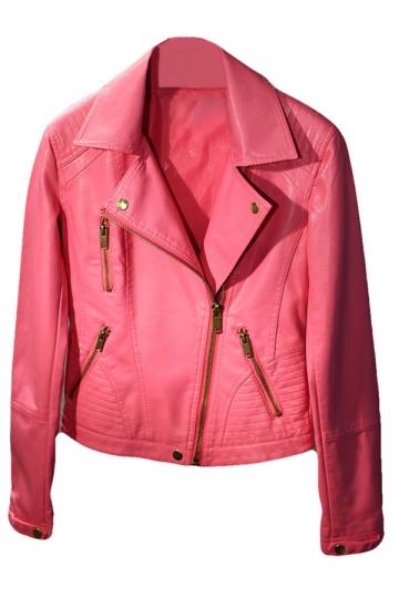 Womens Plain Long Sleeve Lapel Oblique Zipper PU Leather Jacket Pink