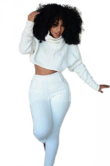 Womens Plain Long Sleeve Turtleneck Crop Top Sweatshirt Suit White