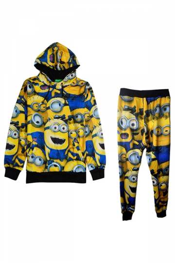 Womens Long Sleeve Minions Print Hooded Lined Sweatshirt Suit Yellow