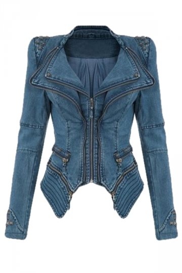 Womens Sharp Studded Shoulder Lapel Zipper Tuxedo Denim Jacket Blue