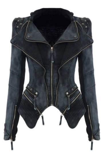 Womens Sharp Studded Shoulder Lapel Zipper Denim Jacket Black