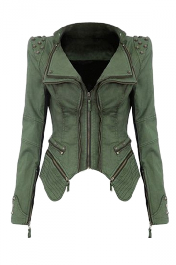 Womens Sharp Studded Shoulder Lapel Zipper Denim Jacket Green