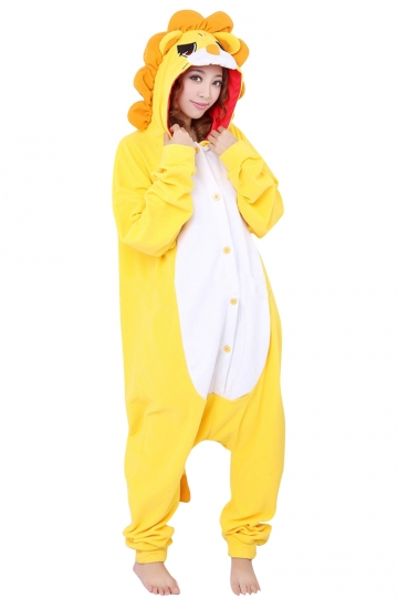Womens Hooded Lion Pajamas Onesies Animal Costume Yellow